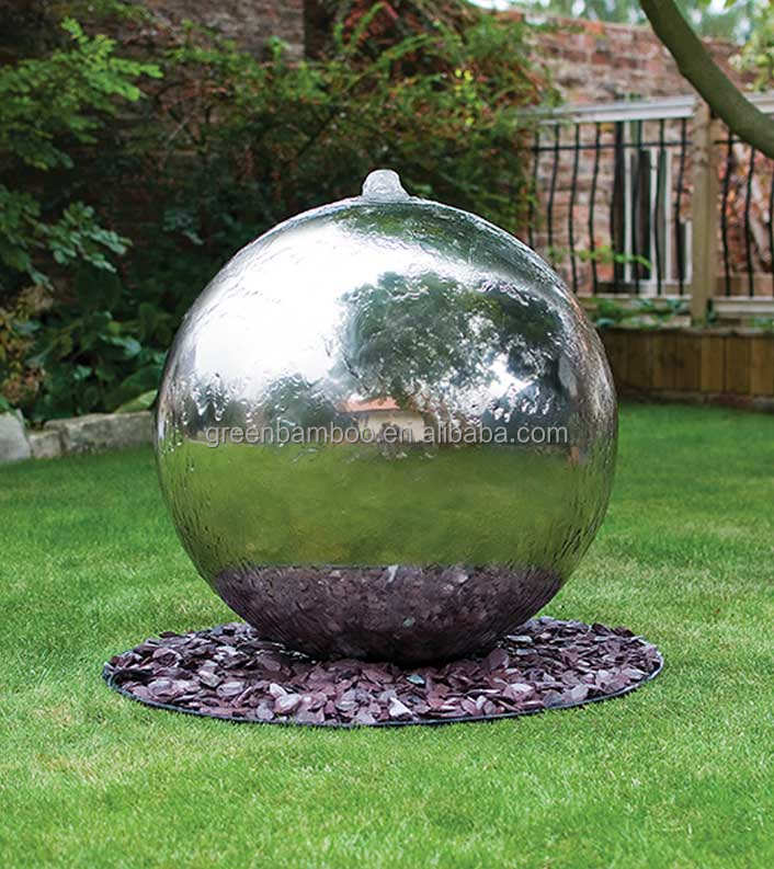 Garden stainless steel sphere fountain outdoor water feature decoration waterfall ball fountain