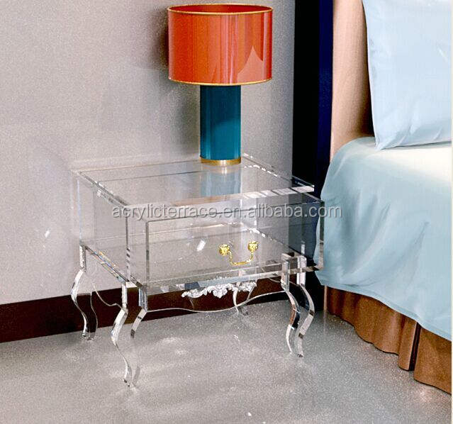 2011508102 Clear acrylic nightstand with drawer,Lucite bedside table