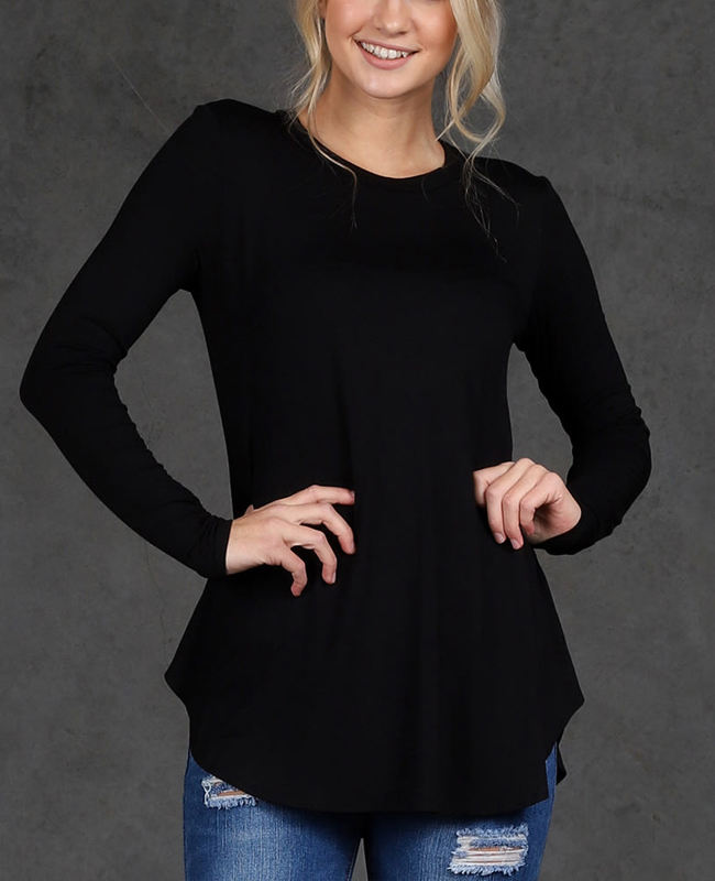women summer clothing suppliers cheap wholesale curved hem long sleeve dressy plain black tunic tops
