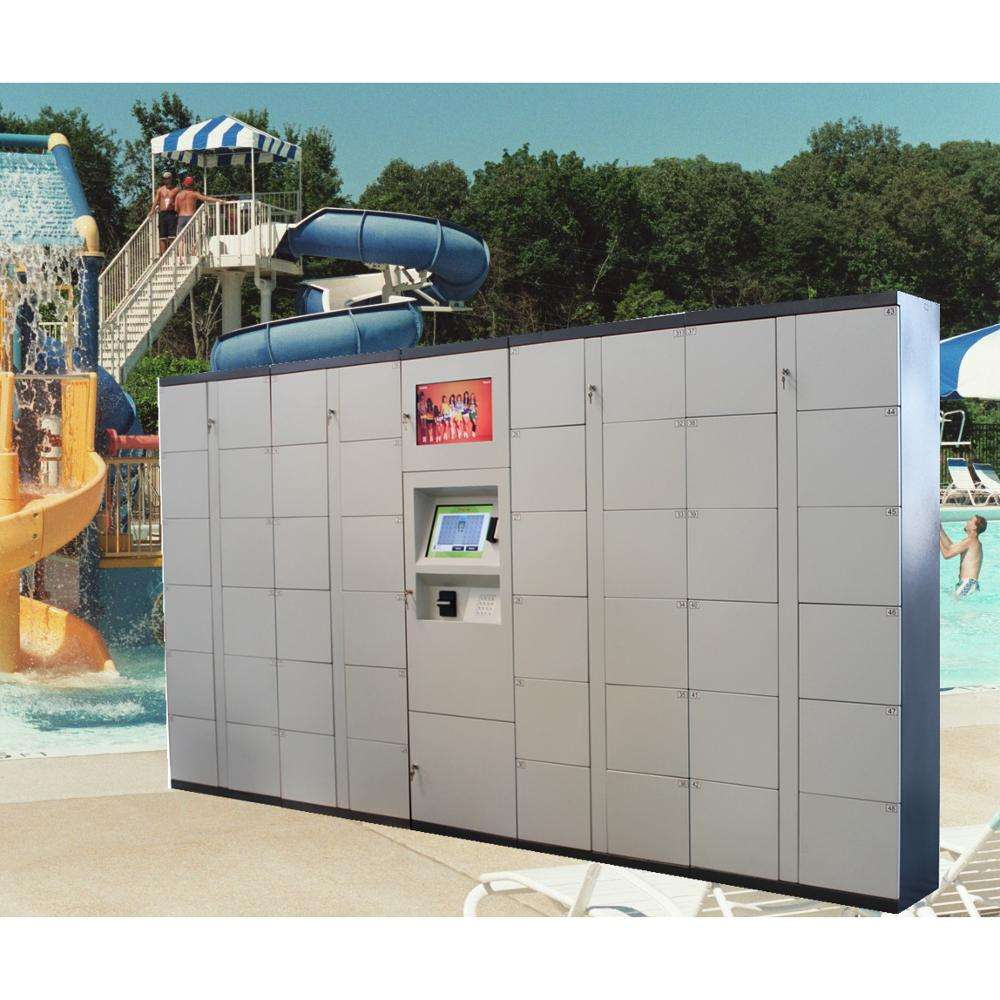 Waterproof outdoor automated smart digital safe storage electronic beach rental locker with barcode QR code
