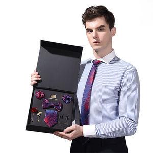 Premium Mens Gift Tie Set Bow Tie Pocket Squares Tie Clips Silky Necktie For Men