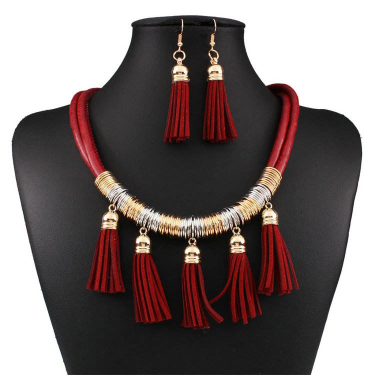 2018 Statement Necklaces Fashion African Jewelry Sets Leather Tassel Necklace Earring Set