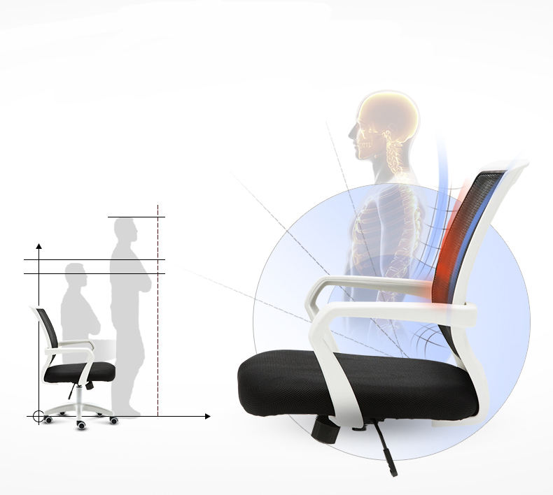 High-tech ergonomic Swivel style office chair furniture adjustable armrest office chair with steel chassis
