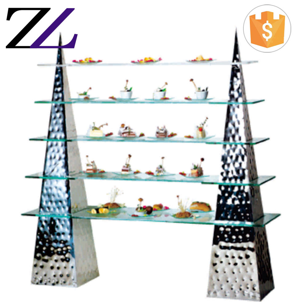 Triangle pyramid tower hammered stainless steel elevadores de buffet acero buffet rack riser dessert food buffet display stand