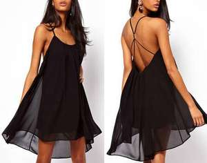 MOQ 1 PC Solid Color Backless Dipped Hem Floaty Summer Dress