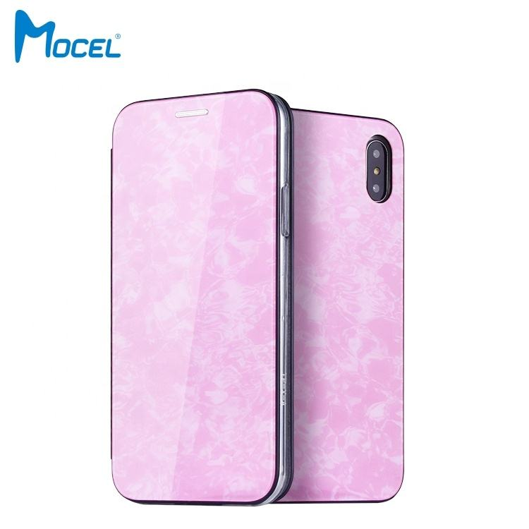 New Style Acrylic + PU Custom Pattern Flip Leather Case for iPhone XS with Card Holder