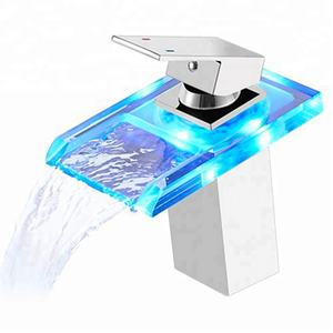 ROVATE Bathroom LED Light Basin Faucet 3 Colors Waterfall Glass Spout Sink Faucet Cold and Hot Water Mixer Tap