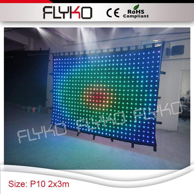 led string lights rgb dmx 2m ht x 3m wide led stage light led display curtain P100mm