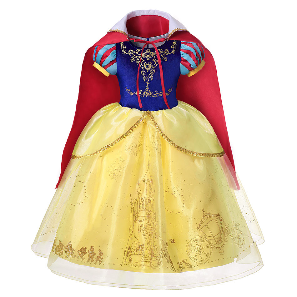 Girl Princess Snow White Dress with Cloak Kids Cosplay Costume Layers Deluxe Ball Gown Child Halloween Party Birthday Dress