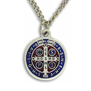 St Benedict Medal 1 inch with Enamel Chain And Gift Box