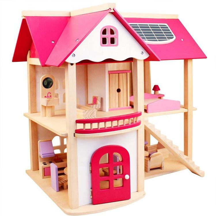Pink Handmade Mini Furniture Kids Toy Dollhouse Pink Wooden Diy Dollhouse Furniture Toy