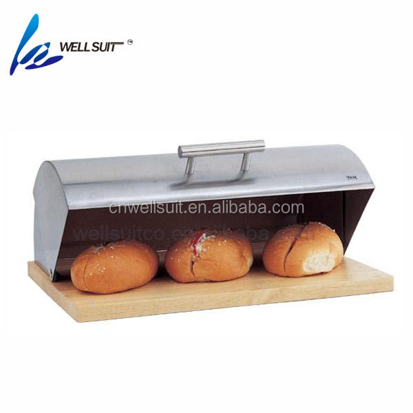 Bread bin Roll top stainless steel with wooden bottom bread box