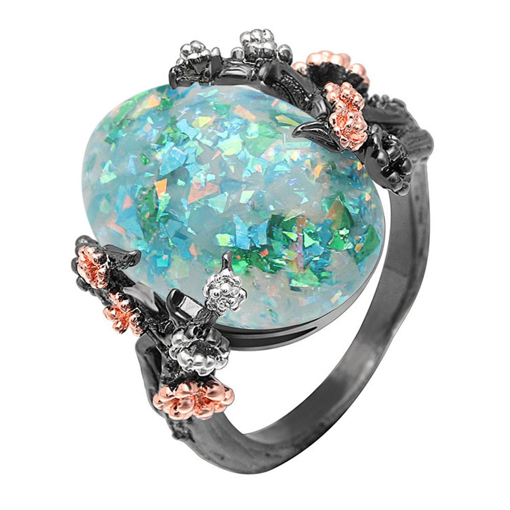 Hainon opal ring New arrivals 2018 engagement ring women black gold opal ring