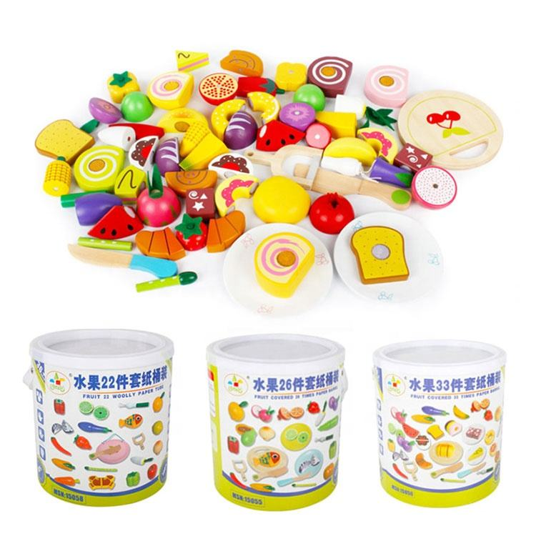 Baby Toys 22/26/33Pcs Magnetic Fruit/Vegetable/Dessert Food Cutting Set Wooden Toys Bottle Packing Kitchen Toy