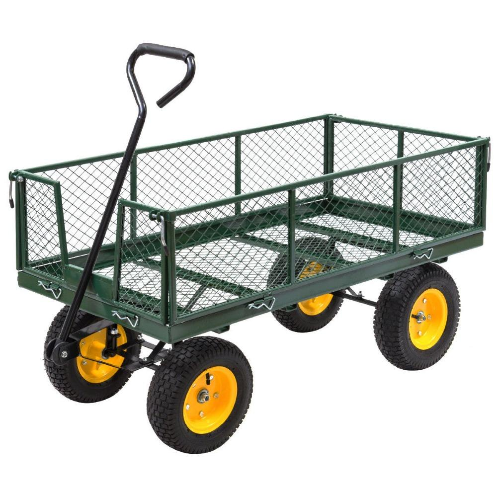 Garden Trolley Cart Yard Garden Wagon 1000LB Heavy Duty Multi-Use 48'' Load Steel