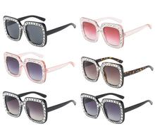 Fashion square rhinestone decoration oversized frame italian promotional ladies pc gradient color women sun glasses sunglasses
