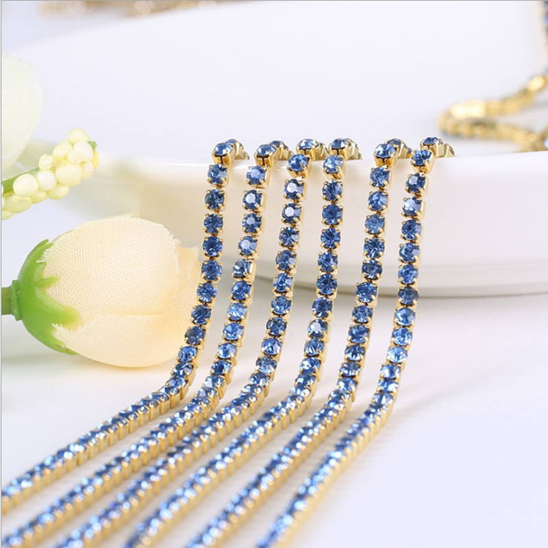 Light sapphire rhinestone Trims for clothing in rolls/ rhinestone cup chain for clothing trimming