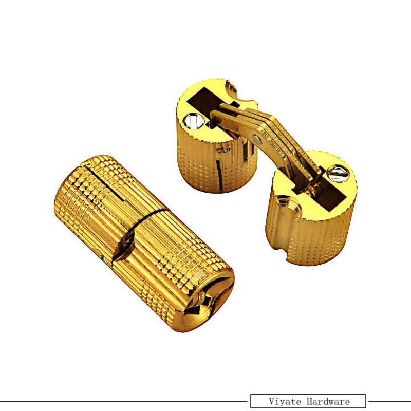 High quality cabinet furniture invisible hinge gold color cylinder hinge/ Brass Conceal/invisible/folding barrel hinge