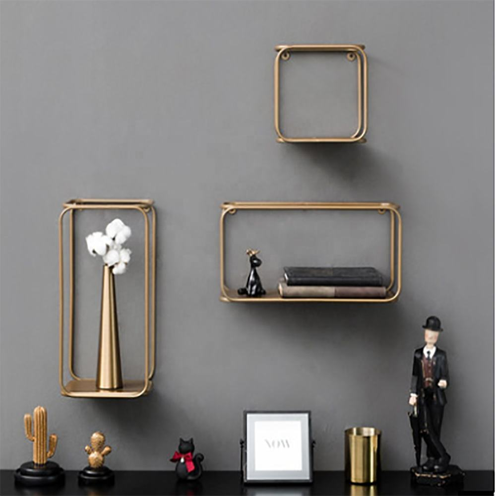 Mode Kreative Nordic Stil 3D Metall Hause Wand Dekoration Gold Display Rack