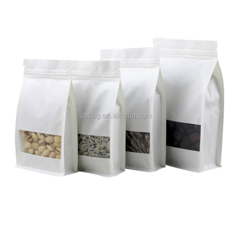 White Windows Food 500g Snack Window pouch standup eight side packaging bags