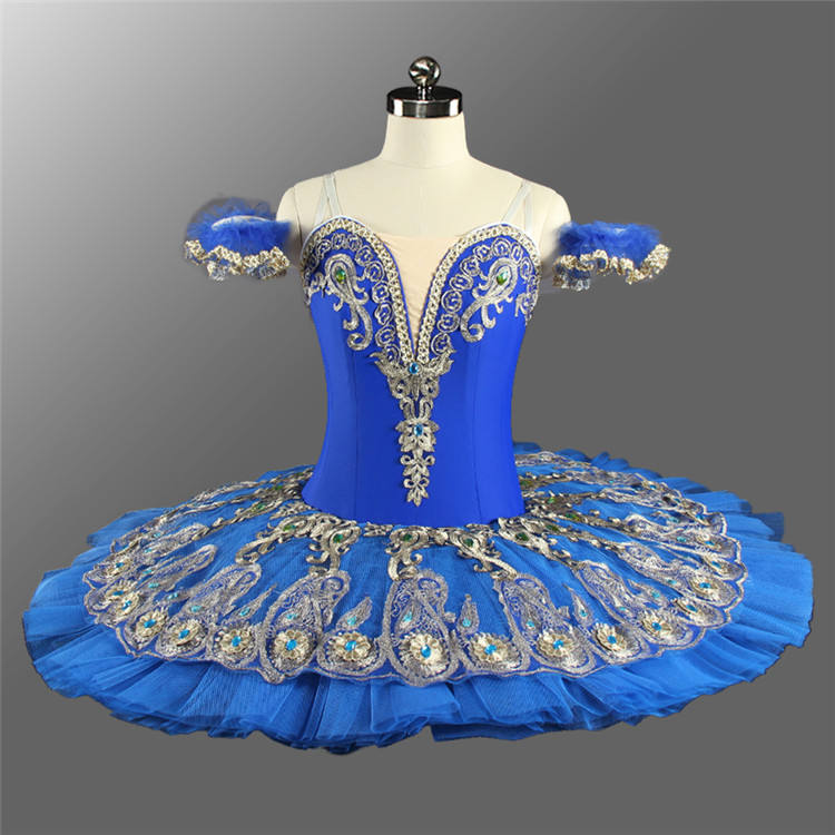 Professional Children Performance Wear Custom Blue Birld Ballet Dancing Tutu Girls