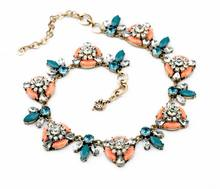 xl00852 Colorful Gemstone Flower Charm Statement Necklace Women Jewelry