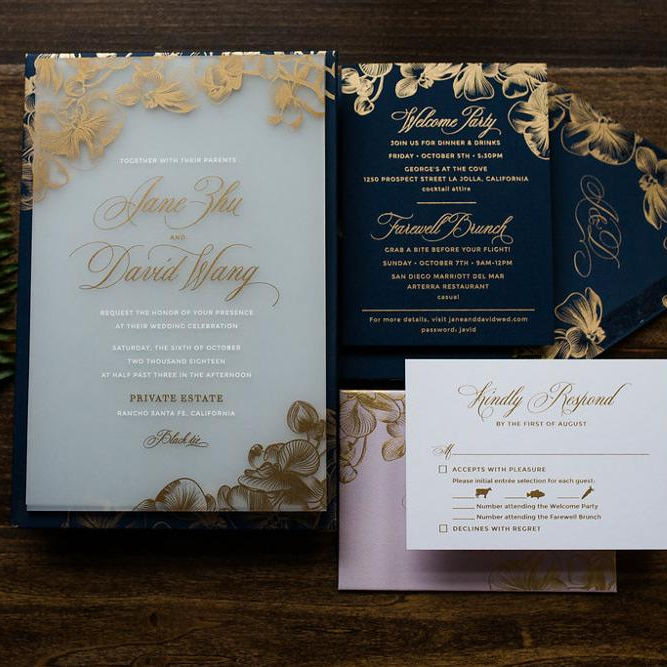 Navy Greeting Business Wedding Card Custom Acrylic Floral Wedding Invitations with Gold Foil Envelope