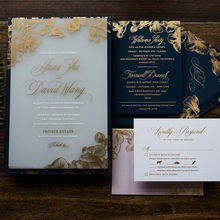 Greeting Business Wedding Card ,Custom Acrylic Floral Wedding Invitation Card with Gold Foil