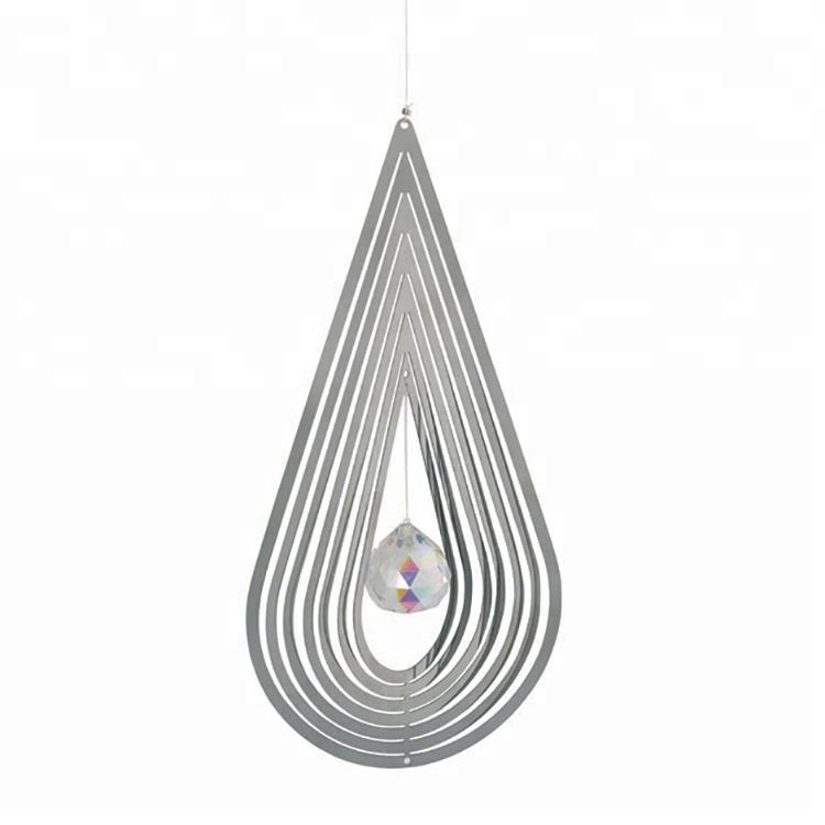 Teardrop wall hanging decoration metal ornament wind spinners