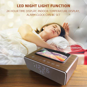 M15 Kayu Speaker Outdoor Nirkabel Bluetooth Speaker Portable Clock Radio