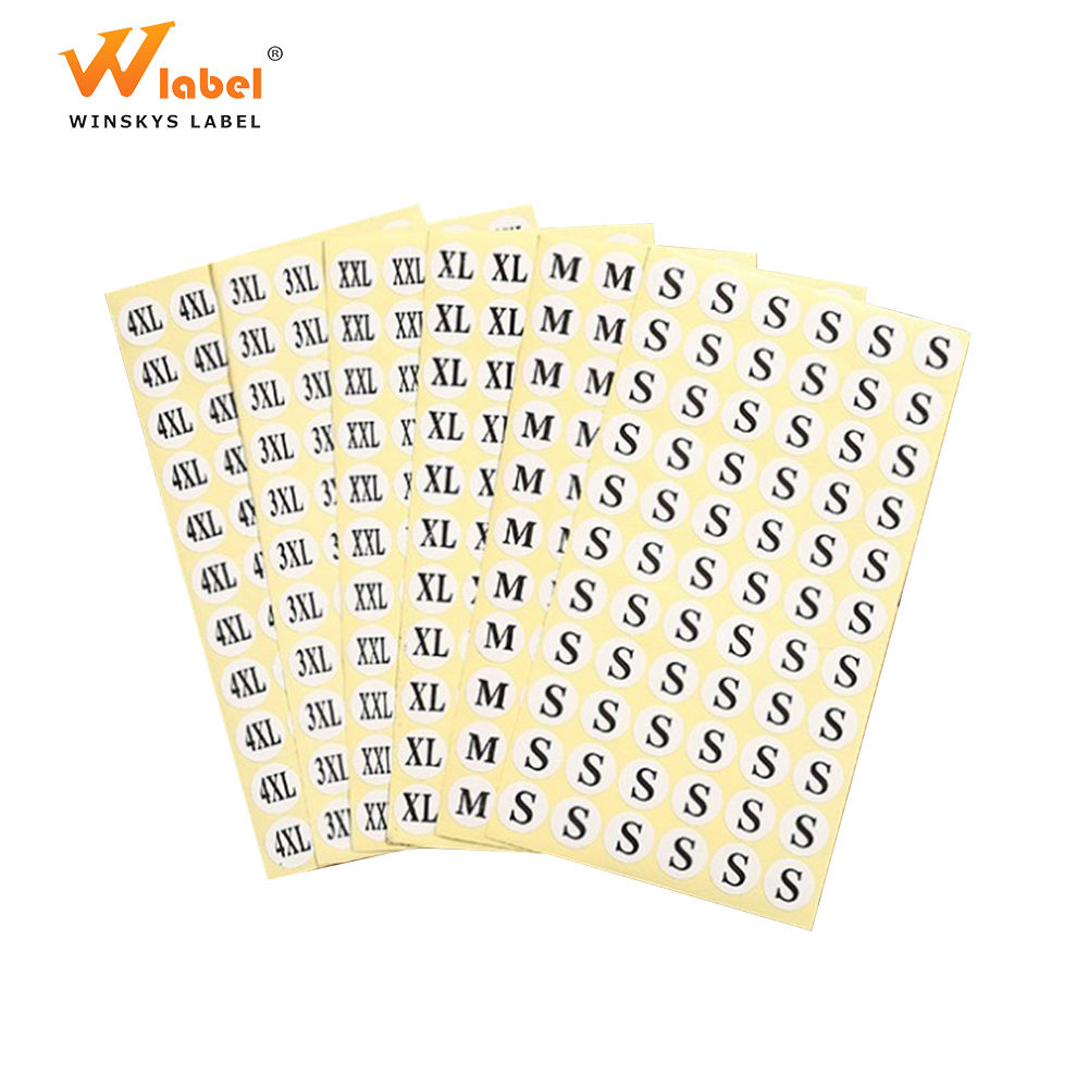 Factory printing A4 S M L XL garment adhesive label size sticker paper price for clothing shoes