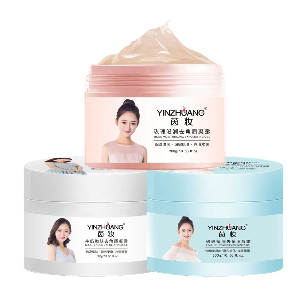 Wholesale Natural Whitening Milk Rose Pearl Exfoliating Scrub Organic Facial Scrub Gommage Gel Face Exfoliator Cream