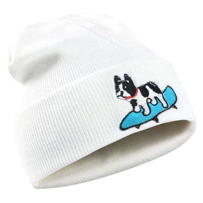Cute youth winter acrylic beanie Scooter dog embroidery winter hat