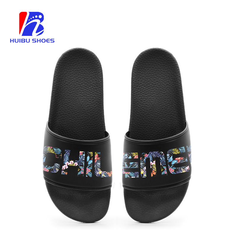 Custom Logo Fashion New Model Pu Slippers Outdoor Men Black Slide Sandals