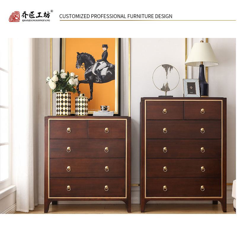 America Style Wood Customized Antique Classical Living Room Furniture Cabinet Chest of Drawer