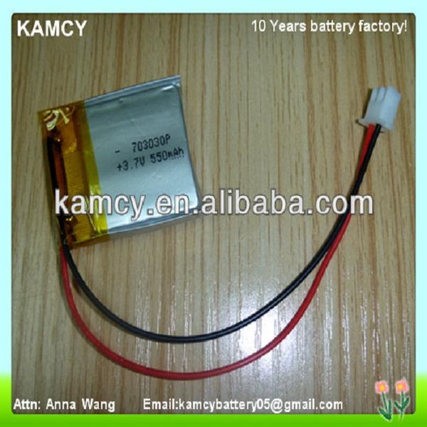 online shop china lipo battery 3.7v 550mah lipo battery rechargeable 703030P widely used for eletronics product in hot
