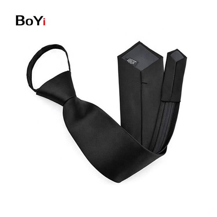 Black Woven Microfiber Satin Zipper Necktie For Men Business Meeting
