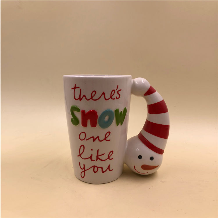 Factory直接Custom Christmas Gift 3D Ceramic Snowman Mug Coffee Cup