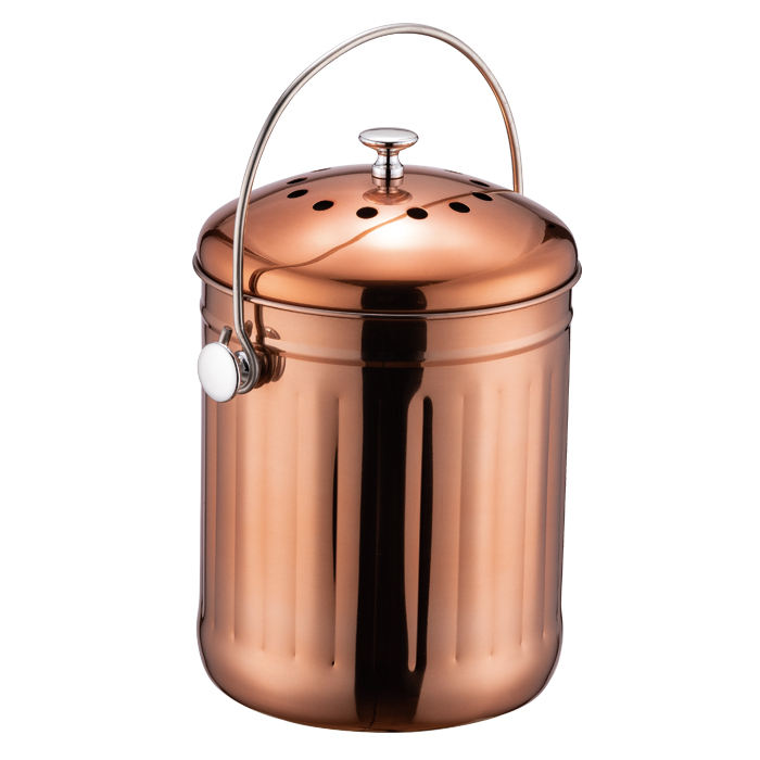 1.2 Gallon satin matt copper finished Stainless Steel Kitchen Countertop Compost Bin