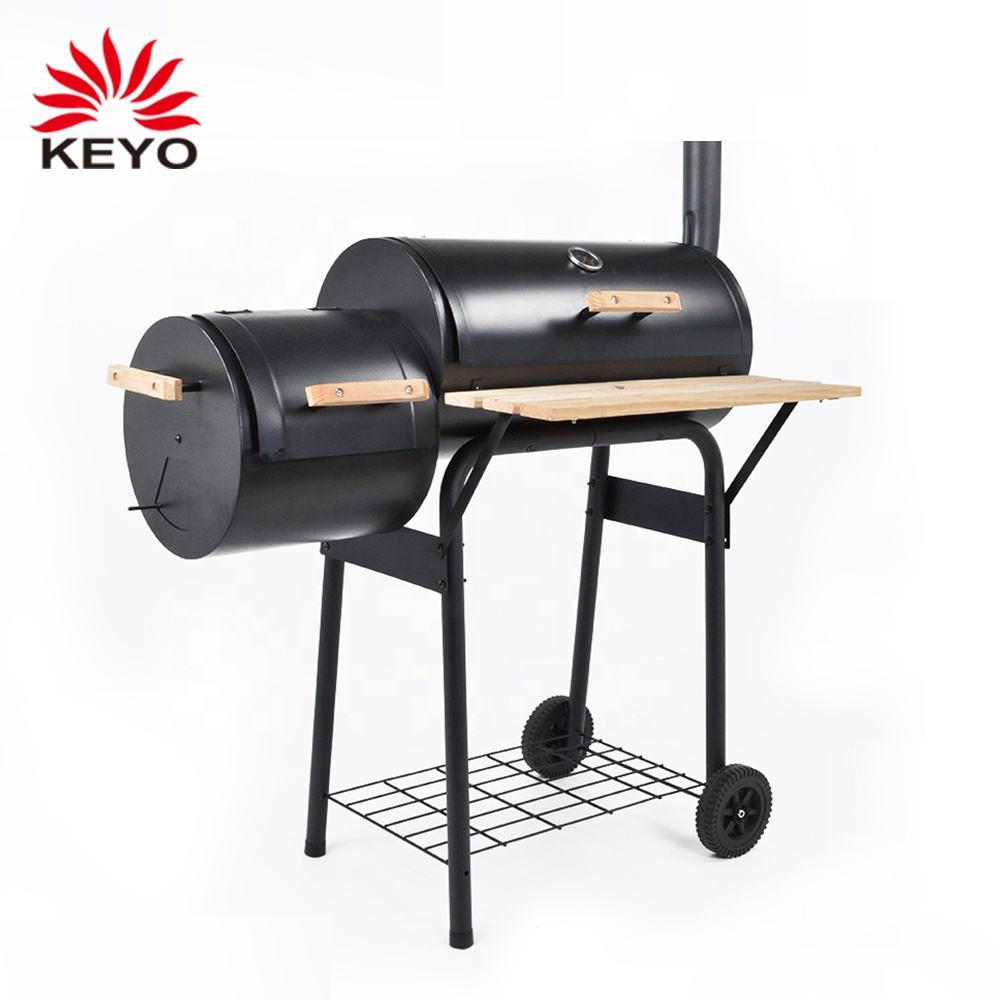 Light Duty Charcoal Smokers Trolley Train Offset Outdoor Backyard Charcoal Smoker Barrel Grill With Chimney
