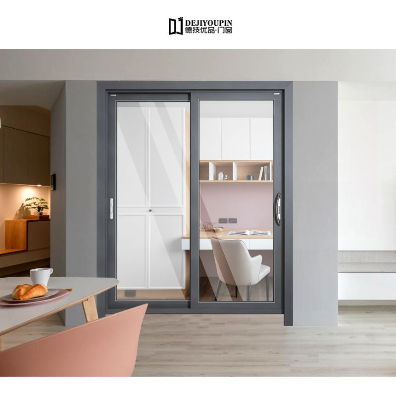 DJYP D136B wood grain color soundproof sliding glass patio doors standard size aluminium door and window manufacturer