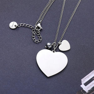 Korean Style Stainless Steel Heart Pendant Necklace Customized Necklace
