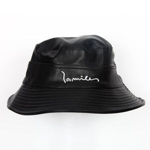 Special design custom leather bucket hat with embroidered logo