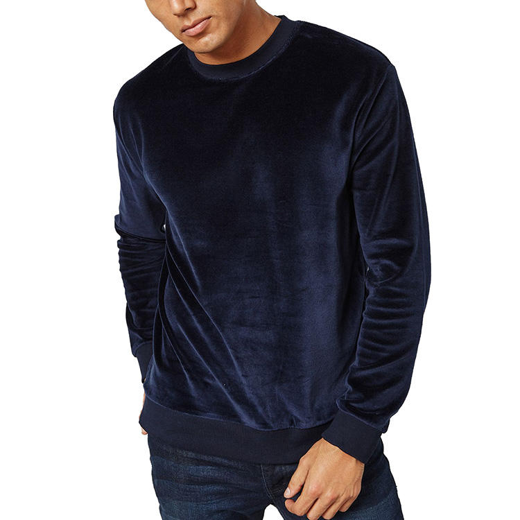 Groothandel Custom Crewneck Zonder Zakken Oversized Mens Blank Borduren Custom Fit Velour Sweatshirt