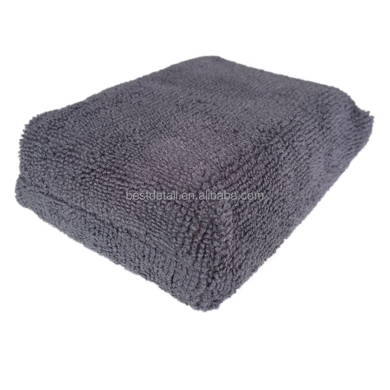 Grey Vierkante <span class=keywords><strong>Auto</strong></span> Detailing Buffing Polijsten Cleaning Pad Wasstraat Spons Microfiber Wax Applicator