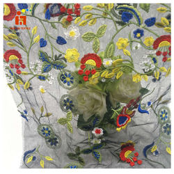 HLPD075 wholesale 3D Flower new Design French cheap colorful Korean Embroidery Tulle Lace Fabric