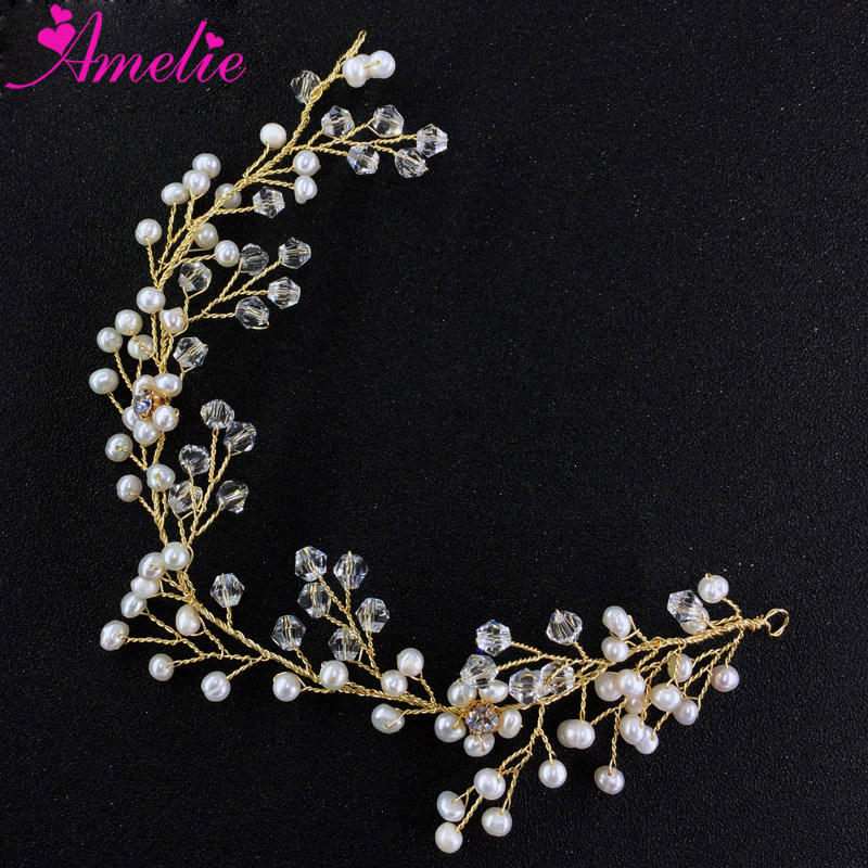 Handmade Delicate Freshwater Pearl with Crystal Decoration Bride Hair Accessories Vine Jewelry