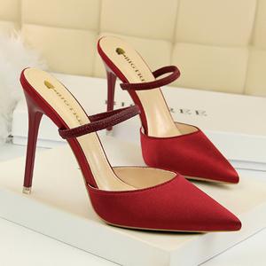 Shiny Fabric Pointed Toe Women High Heels Shoes Women's Wedding Pumps