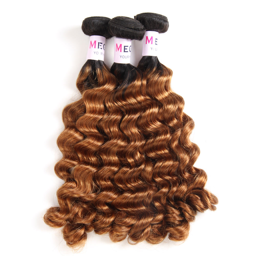 Grade 12A Raw Dark Brown Ombre 1B 30 Color Cuticle Aligned Fumi Fancy Curl Human Hair