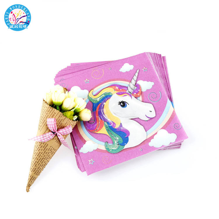Hot sale new products unicorn party supplies unicorn theme paper napkins unicorn printed napkins